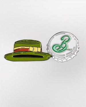 Enamel Pin Set - Garrett's Hat & Bottle Cap