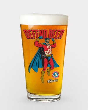 Brooklyn Defender Superhero Pint Glass