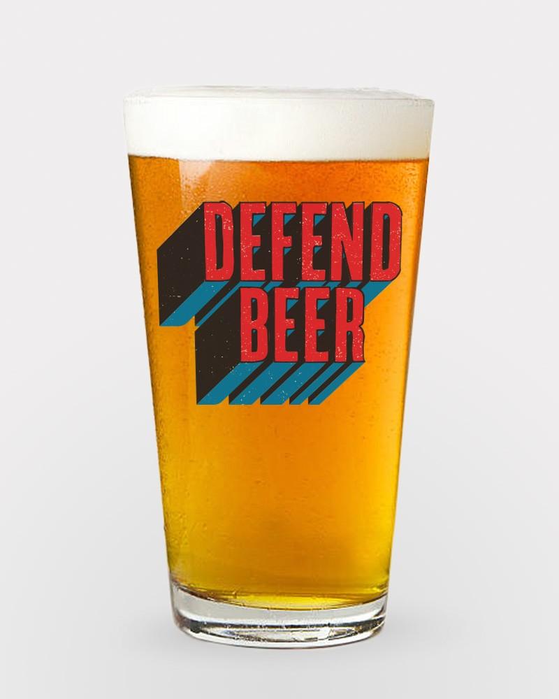 Defend Beer Pint Glass