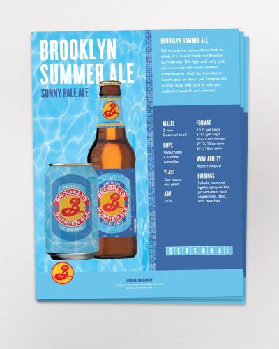 Brooklyn Summer Ale Sell Sheet 50/Ct